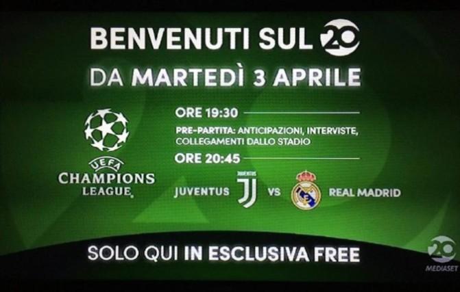 Juventus-Real Madrid, Champions League oggi 3 aprile 2018: diretta tv sul nuovo canale free 20 e live streaming