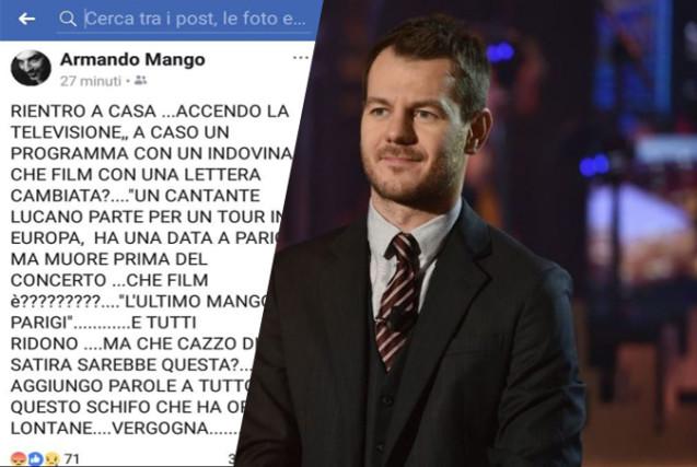 """EPCC, Alessandro Cattelan """"ride"""" di Mango: la battuta di cattivo gusto e il messaggio del fratello"""