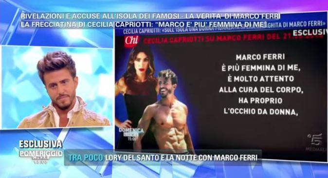 """Marco Ferri a Pomeriggio 5 contro Cecilia Capriotti: """"Se fossi gay quale sarebbe il tuo problema?"""""""