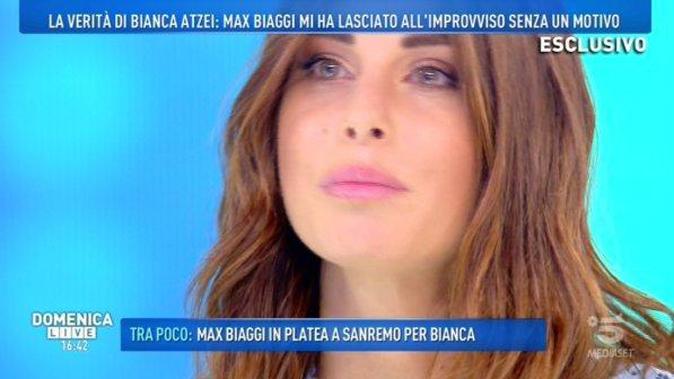 """Bianca Atzei a Domenica Live: da Max Biaggi al messaggio di Filippo Nardi, """"È un gran gnocco!"""""""