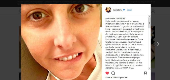 Nadia Toffa compie 39 anni, il messaggio di forza e vita: dopo i mesi difficili, parole d'affetto ai fan