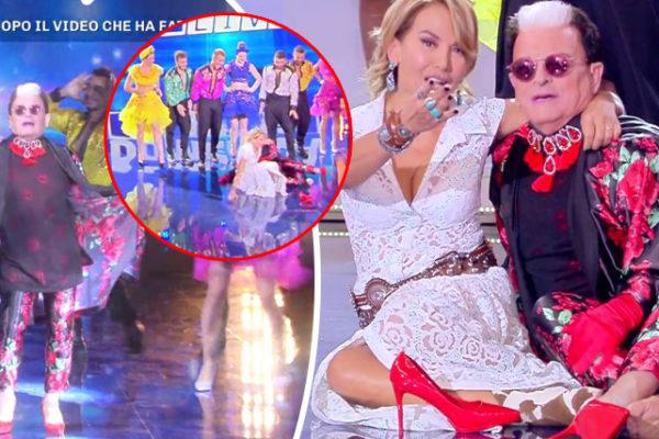 Domenica Live, Cristiano Malgioglio e Barbara d'Urso cadono in diretta: il ballo sui tacchi (Video)