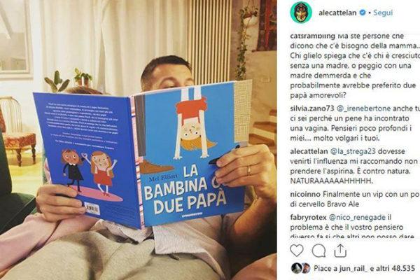 Alessandro Cattelan, il libro con due papà per la figlia: gli omofobi esplodono, la sua replica perfetta