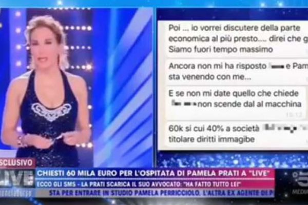 "Barbara d'Urso mostra i messaggi dell'ex avvocato di Pamela Prati, Taormina ""tentata estorsione"" – VIDEO"