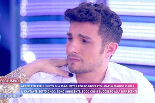 """Marco Carta a Live Non è la d'Urso: """"la mia notte trascorsa in cella, sono ancora scosso"""""""